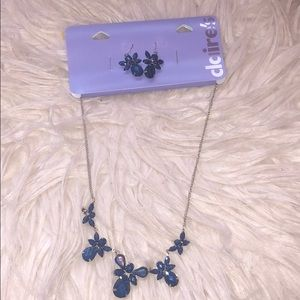 Blue earring and necklace set from Claire's!